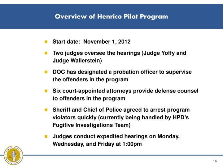 Overview of Henrico Pilot Program