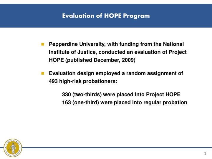 Evaluation of HOPE Program