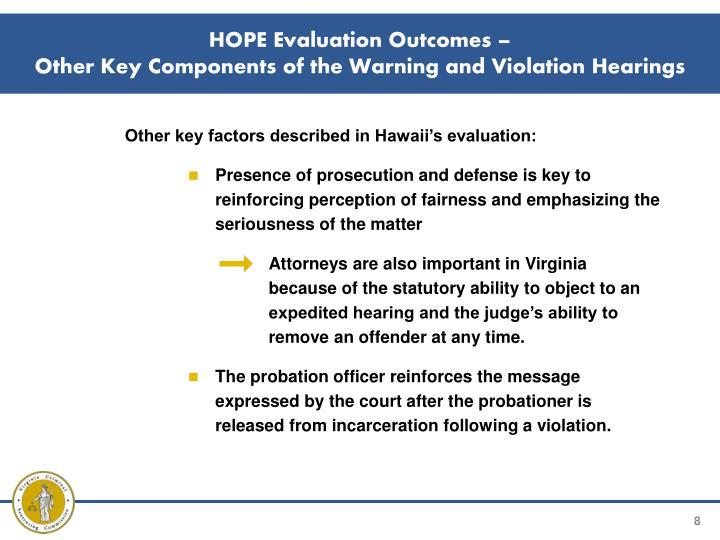 HOPE Evaluation Outcomes –
