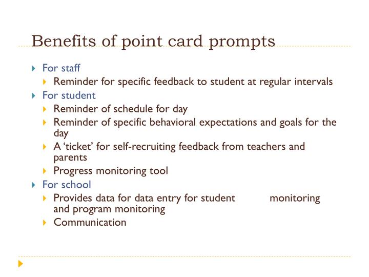 Benefits of point card prompts