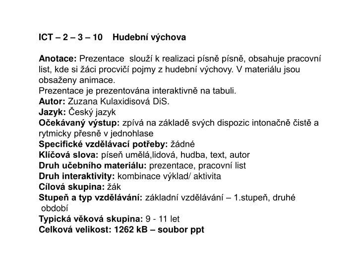 Ppt Ict 2 3 10 Hudebni Vychova Powerpoint Presentation Id