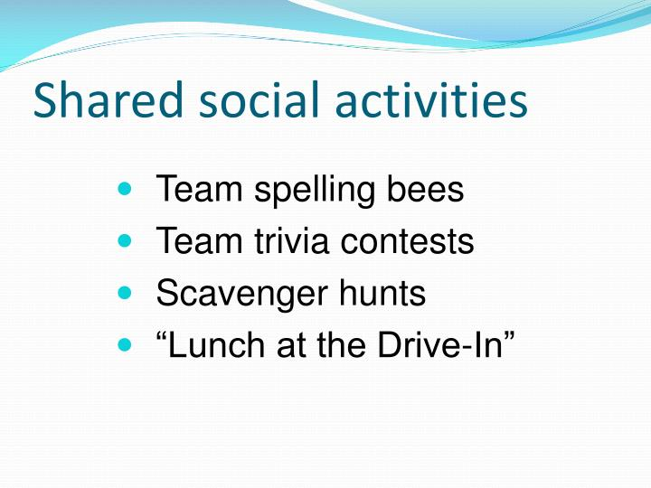Shared social activities