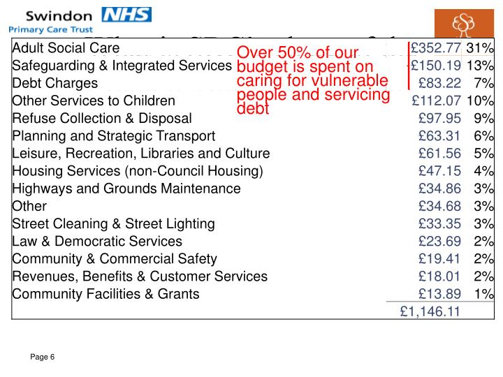 What is SBC's share of the Council Tax Bill spent on?