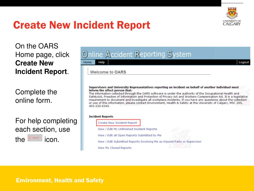 PPT - OARS Online Accident Reporting System PowerPoint
