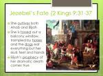jezebel s fate 2 kings 9 31 37
