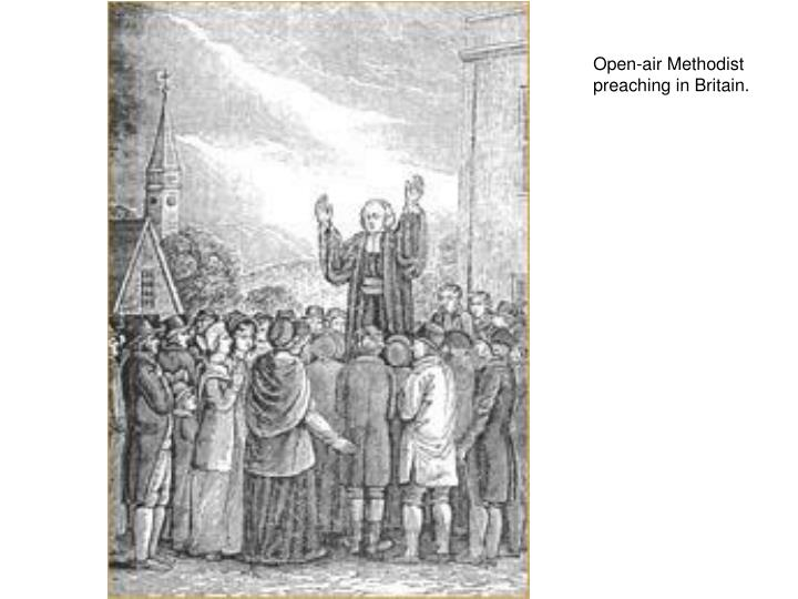 Open-air Methodist preaching in Britain.