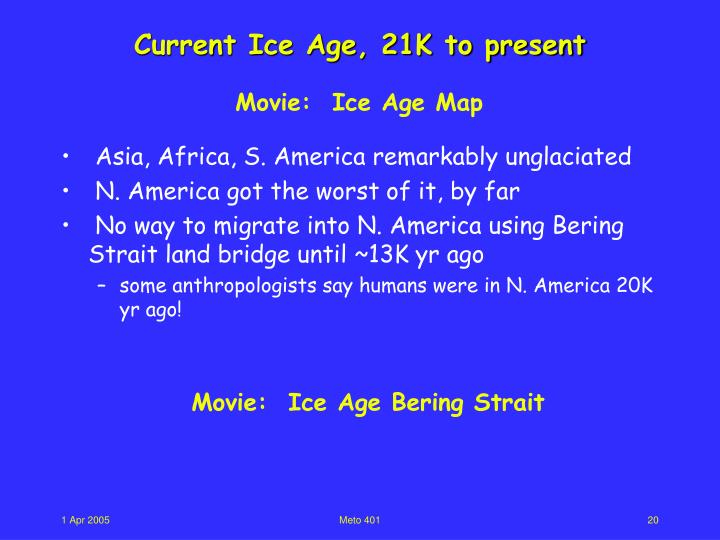 Current Ice Age, 21K to present