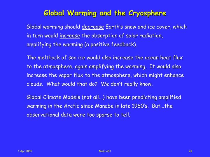Global Warming and the Cryosphere
