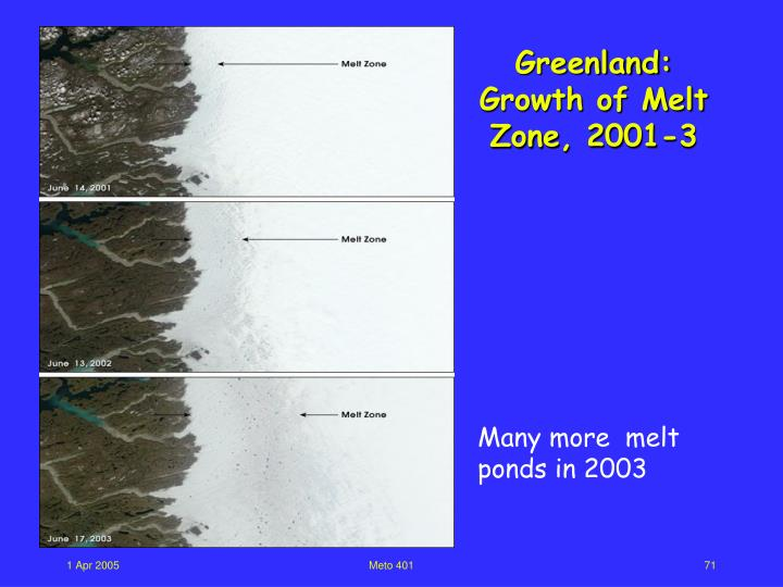 Greenland: Growth of Melt Zone, 2001-3