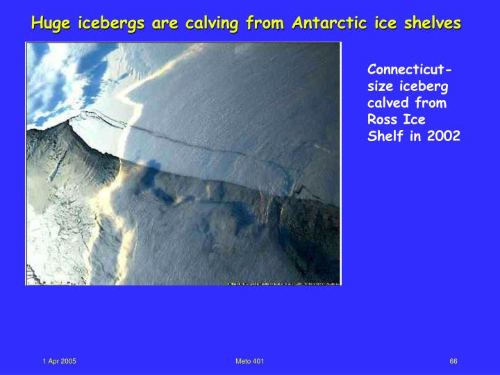 Huge icebergs are calving from Antarctic ice shelves