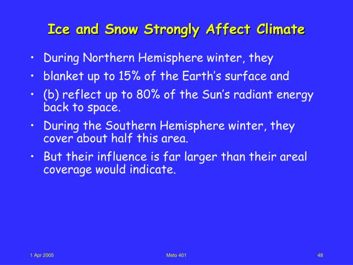 Ice and Snow Strongly Affect Climate