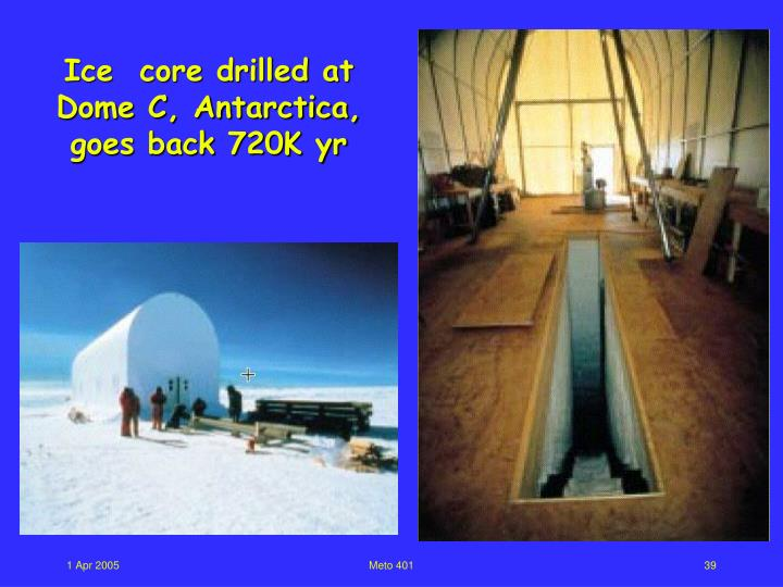 Ice  core drilled at Dome C, Antarctica, goes back 720K yr