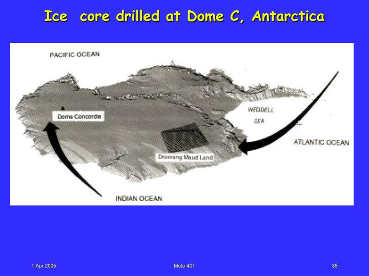 Ice  core drilled at Dome C, Antarctica
