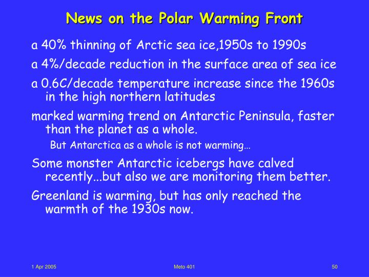 News on the Polar Warming Front