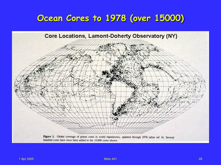 Ocean Cores to 1978 (over 15000)
