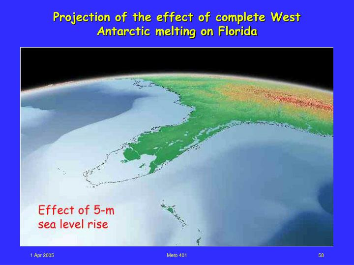 Projection of the effect of complete West Antarctic melting on Florida