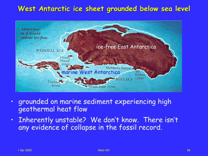 West Antarctic ice sheet grounded below sea level