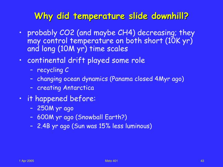 Why did temperature slide downhill?