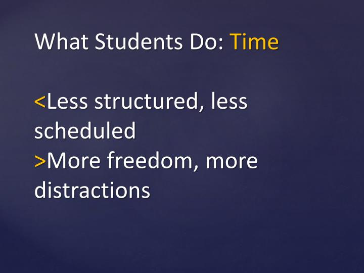 What Students Do: