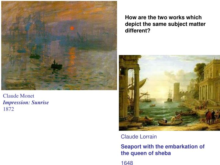How are the two works which depict the same subject matter different?