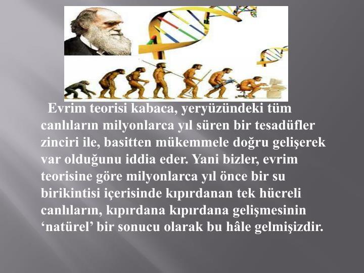 Evrim teorisi kabaca, yeryüzündeki tüm canlıların milyonlarca yıl süren bir tesadüfler zi...