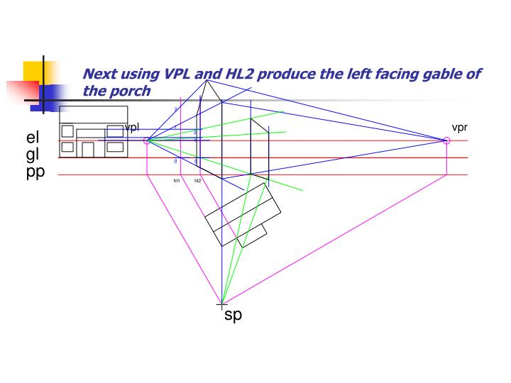 Next using VPL and HL2 produce the left facing gable of the porch