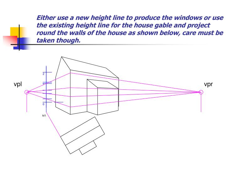 Either use a new height line to produce the windows or use the existing height line for the house gable and project round the walls of the house as shown below, care must be taken though.