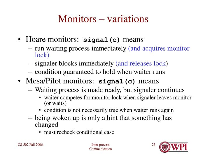 Monitors – variations