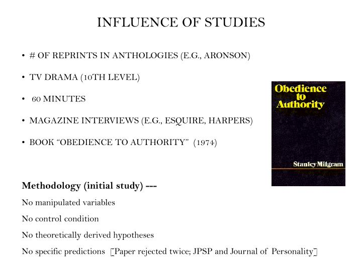 INFLUENCE OF STUDIES