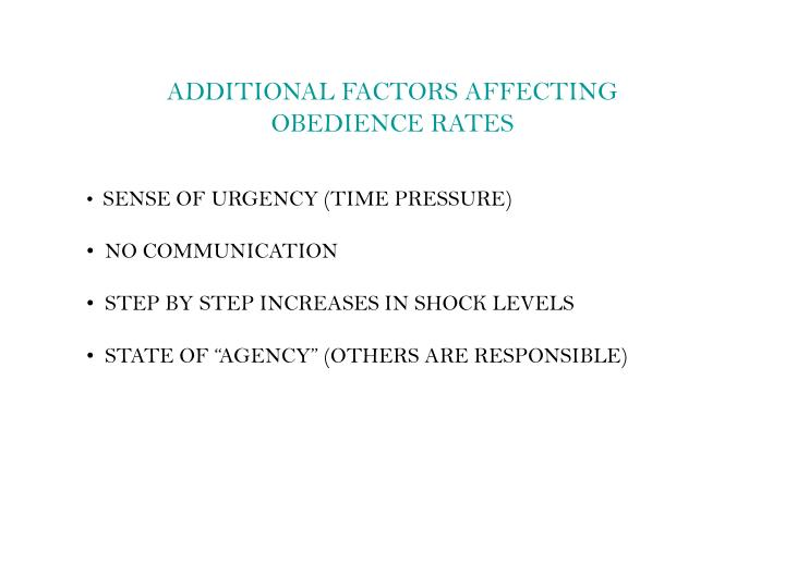 ADDITIONAL FACTORS AFFECTING