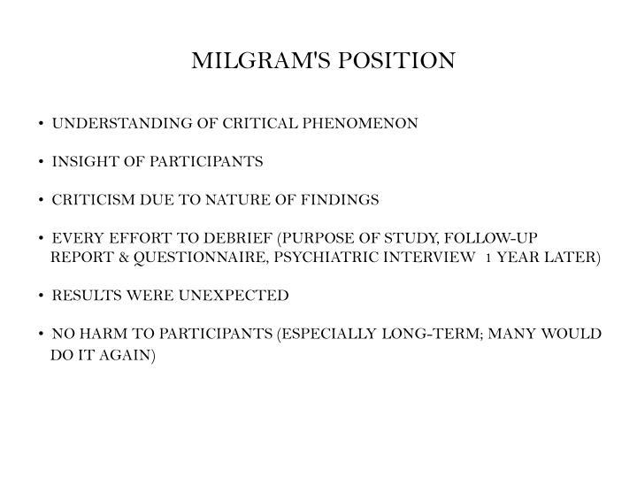 MILGRAM'S POSITION