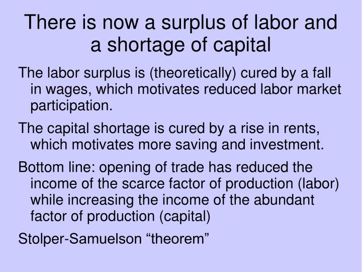 There is now a surplus of labor and a shortage of capital