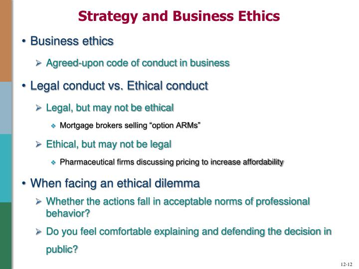 Strategy and Business Ethics