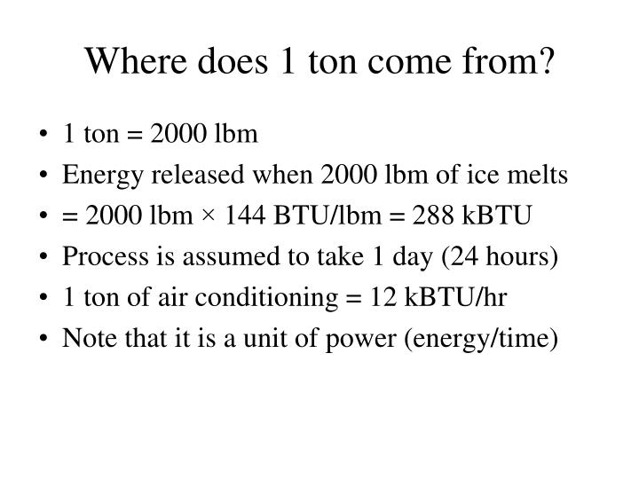 Where does 1 ton come from?