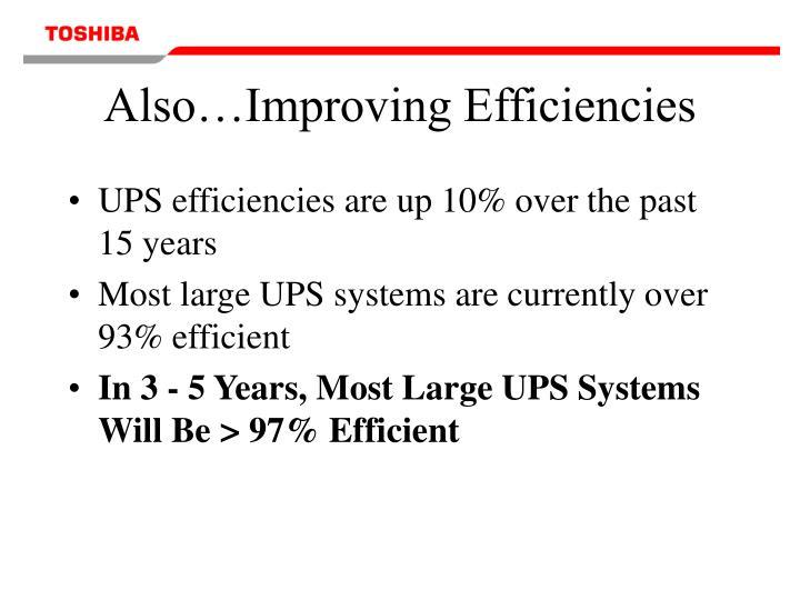 Also…Improving Efficiencies