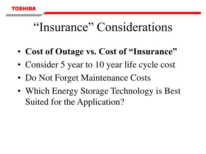 """Insurance"" Considerations"