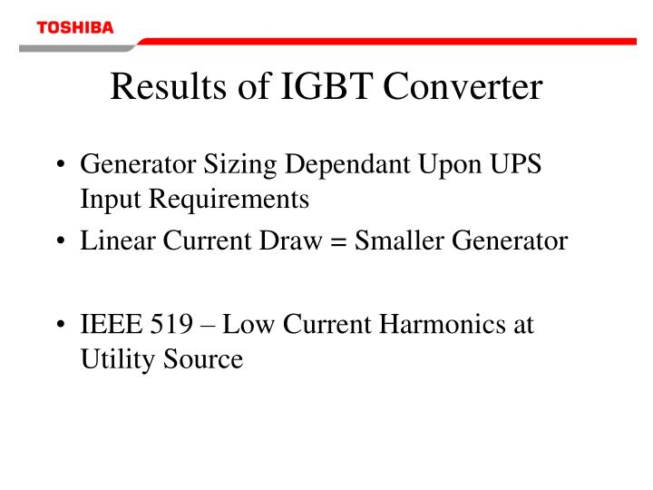 Results of IGBT Converter