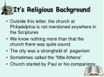it s religious background