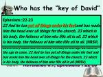 who has the key of david1