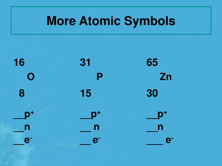 More Atomic Symbols