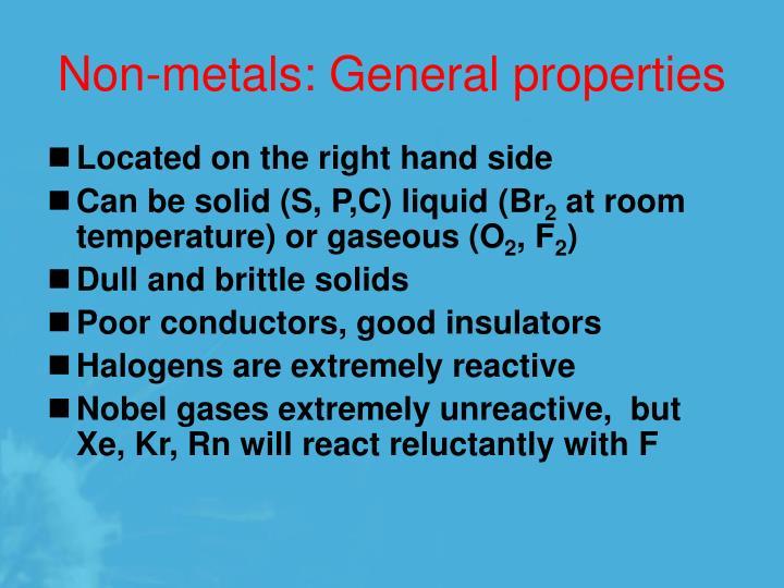 Non-metals: General properties