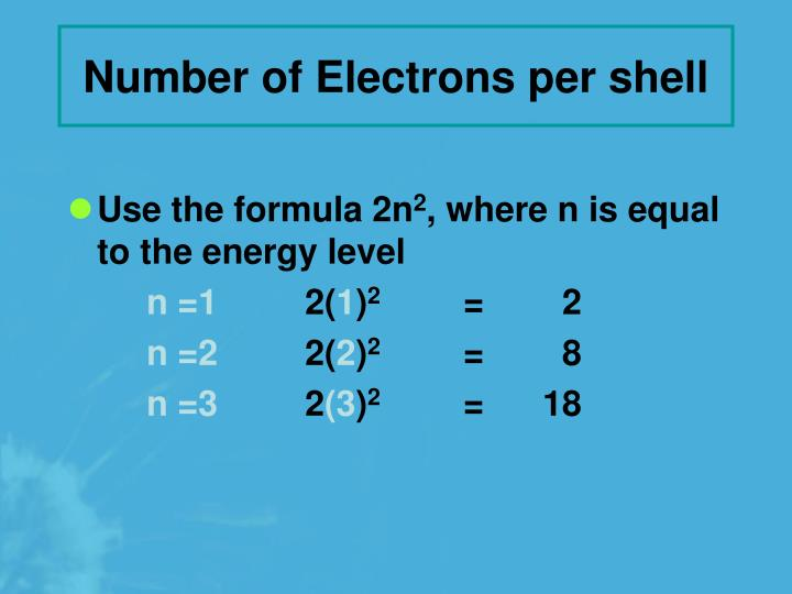 Number of Electrons per shell