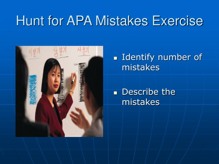 Hunt for APA Mistakes Exercise