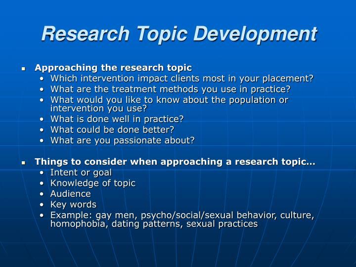 Research Topic Development