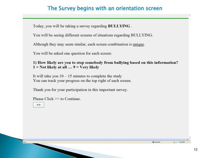 The Survey begins