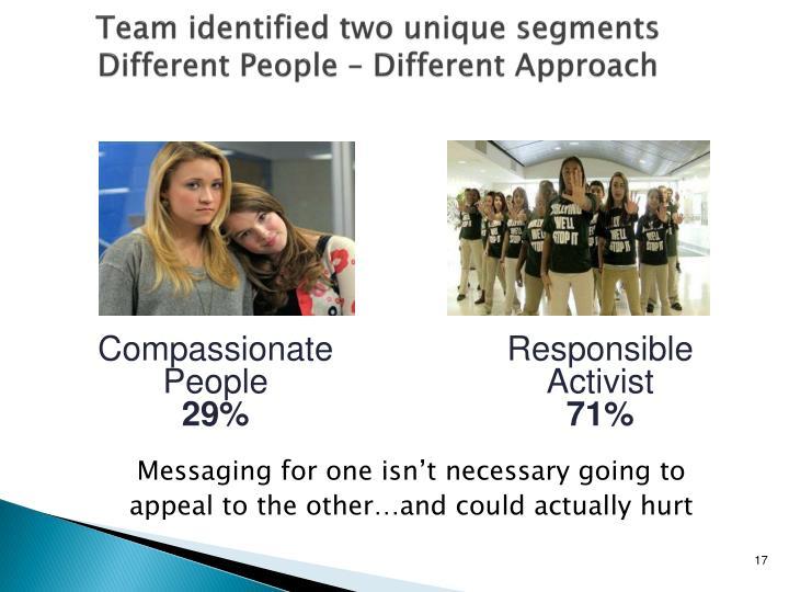 Team identified two unique segments