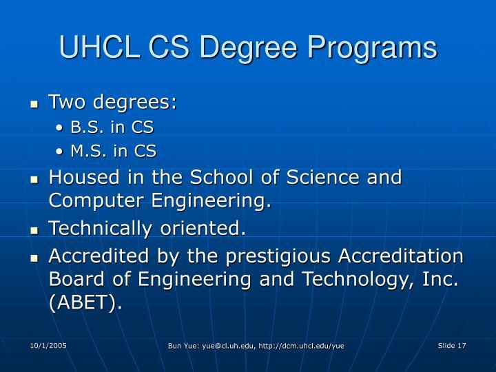 UHCL CS Degree Programs