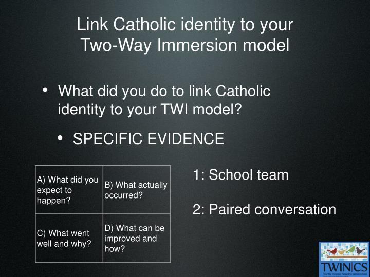 Link Catholic identity to your