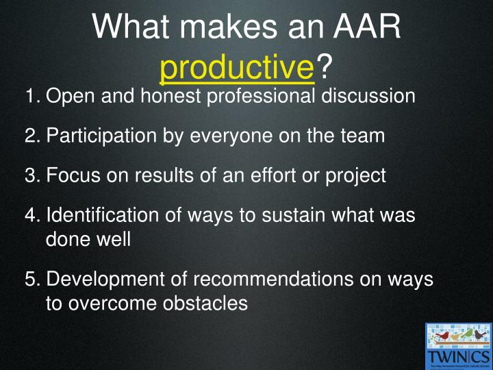 What makes an AAR