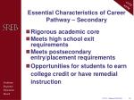 essential characteristics of career pathway secondary